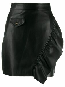Sandro Paris ruffle-trim leather skirt - Black