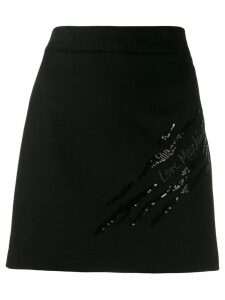 Love Moschino embroidered logo skirt - Black