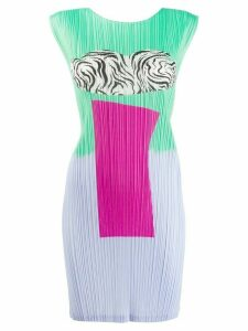 Pleats Please Issey Miyake print mix dress - Green