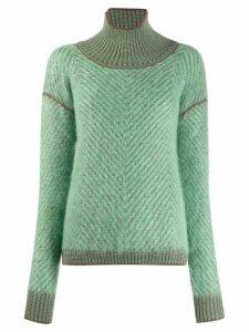 Tela high standing collar jumper - Green