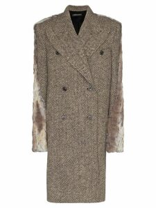 Y/Project Herringbone tweed coat - Brown