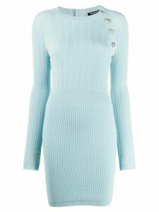Balmain button-embellished fitted dress - Blue