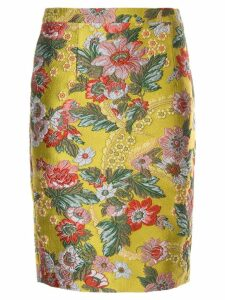 Andrew Gn floral pattern fitted skirt - Yellow