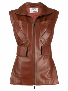 Acne Studios zip-up leather waistcoat - Brown