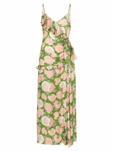 Miu Miu floral print ruffled maxi dress - Green