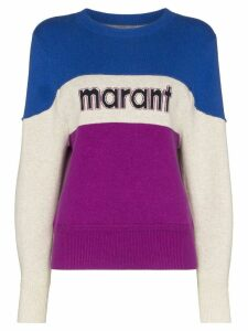 Isabel Marant Étoile Kedy colour-block logo jumper - Blue