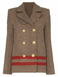 Paco Rabanne double-breasted striped military coat - Brown