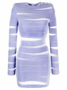 Balmain sheer cut-out bodycon dress - Purple