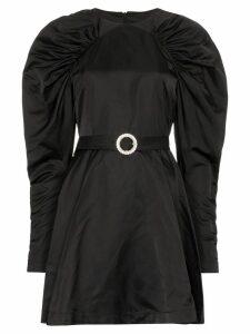 Rotate puff-sleeve belted mini dress - Black