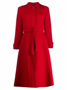 Giambattista Valli belted single-breasted coat - Red