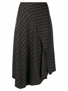 Vince asymmetric plaid skirt - Brown