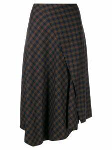 Vince asymmetric plaid skirt - Brown