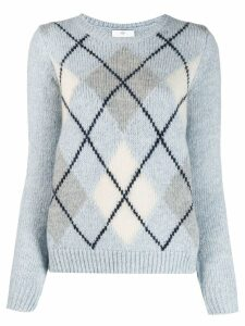 Allude check patterned sweater - Blue