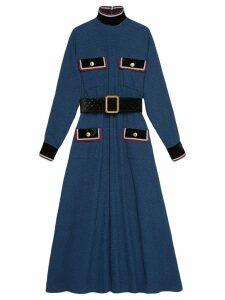 Gucci Cotton dress with velvet details - Blue