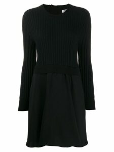 Kenzo panelled jumper flared dress - Black