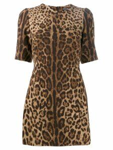 Dolce & Gabbana leopard print mini dress - Brown