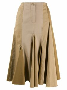 LANVIN pleated patchwork skirt - Neutrals