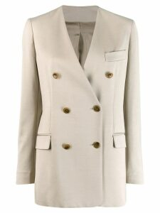 Joseph double breasted collarless blazer - Neutrals