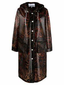Ganni tiger print rain coat - Brown