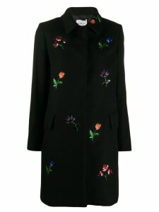 be blumarine flower embellished coat - Black