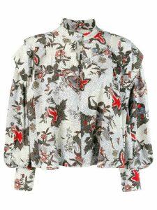Isabel Marant ruffled floral blouse - White
