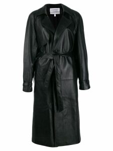 Situationist leather midi coat - Black
