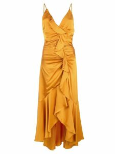 Jonathan Simkhai asymmetric ruffle dress - Orange