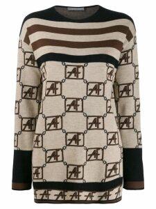 Alberta Ferretti geometric pattern jumper - Brown