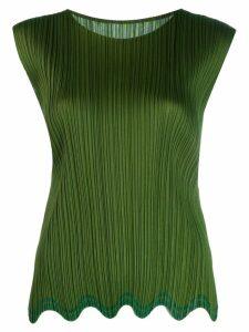 Pleats Please Issey Miyake sleeveless pleated vest - Green