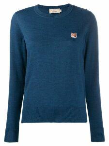Maison Kitsuné embroidered fox knit top - Blue