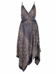 Jonathan Simkhai camisole wrap scarf print dress - Blue