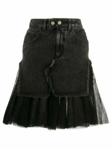 Brognano tulle-hem denim skirt - Black