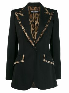 Dolce & Gabbana animal print trim blazer - Black