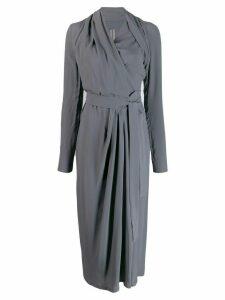Rick Owens wrap style draped dress - Blue
