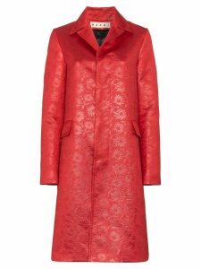 Marni floral embossed coat - Red