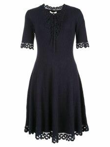 Jonathan Simkhai crochet flared v-neck dress - Blue