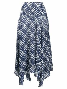 Rixo Maggie checked asymmetric skirt - Blue