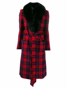 Philipp Plein fur lined tartan coat - Black