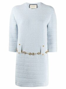 Gucci tweed belted dress - Blue