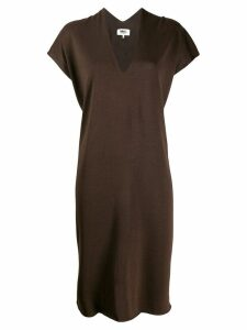 Mm6 Maison Margiela v-neck relaxed dress - Brown