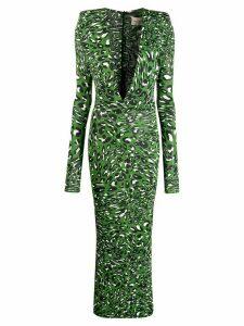 Alexandre Vauthier leopard print maxi dress - Green