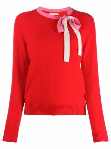 Chinti & Parker bow detail jumper - Red
