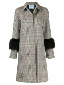 Prada Houndstooth plaid coat - Neutrals