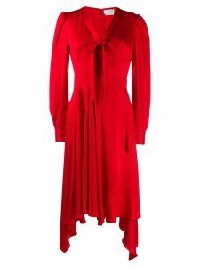 Alexander McQueen draped asymmetric dress - Red