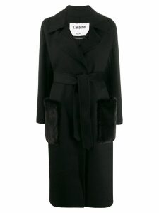 S.W.O.R.D 6.6.44 belted wrap coat - Black