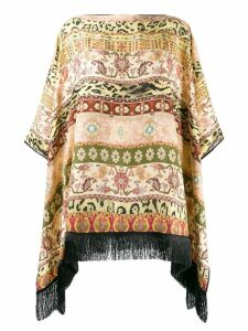 Etro mixed print fringed cape - Neutrals