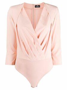 Elisabetta Franchi pleated wrap bodysuit - Pink