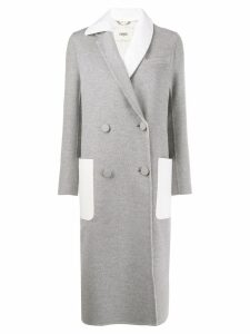 Fendi asymmetric lapel overcoat - Grey