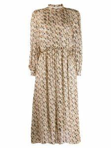 Sandro Paris boot print midi dress - NEUTRALS