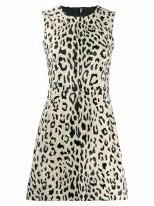 Dolce & Gabbana animal print flared mini dress - Neutrals